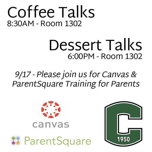 This is an image announcing the ParentSquare and Canvas training for parents on 9/17.