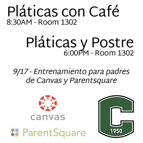 This is an image announcing the ParentSquare and Canvas training for parents on 9/17 in Spanish.