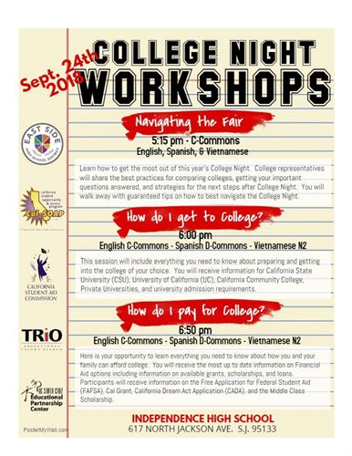 This image is for the College Night workshops in English.
