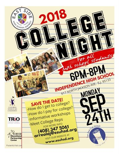 This is an image version of the Save the Date for College Night in English.