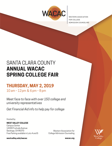 This is the flyer for the WACAC College Fair taking place on Thursday, May 2, 2019.